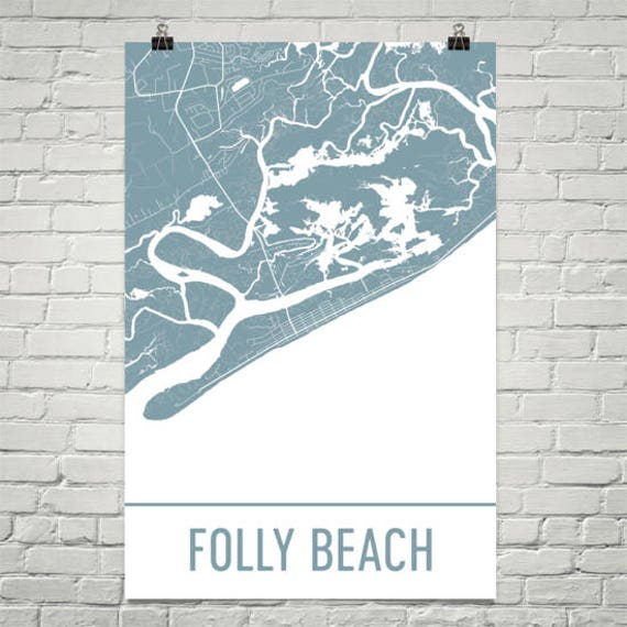 Folly Beach South Carolina Map.Folly Beach Map Folly Beach Art Charleston Print Folly Etsy