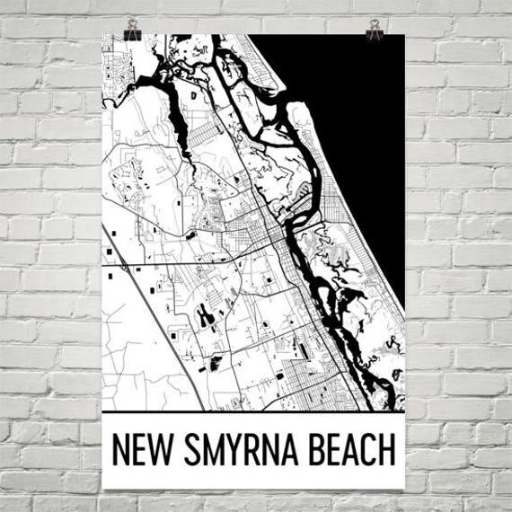 New Smyrna Beach Florida Map.New Smyrna Beach Florida Map New Smyrna Beach Art New Smyrna Etsy