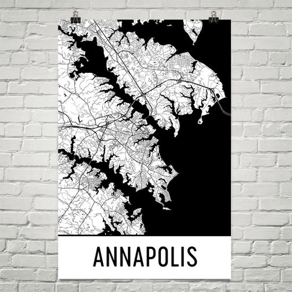 Annapolis Map Annapolis Art Annapolis MD Print Annapolis | Etsy