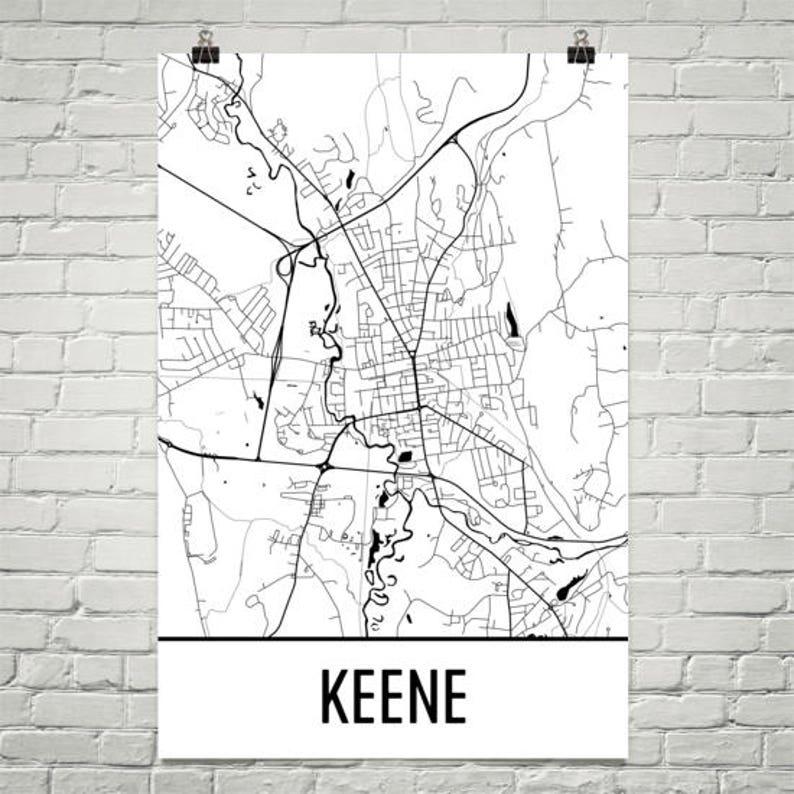 Keene Nh Map Keene State Art Keene Print Keene Nh Poster Etsy