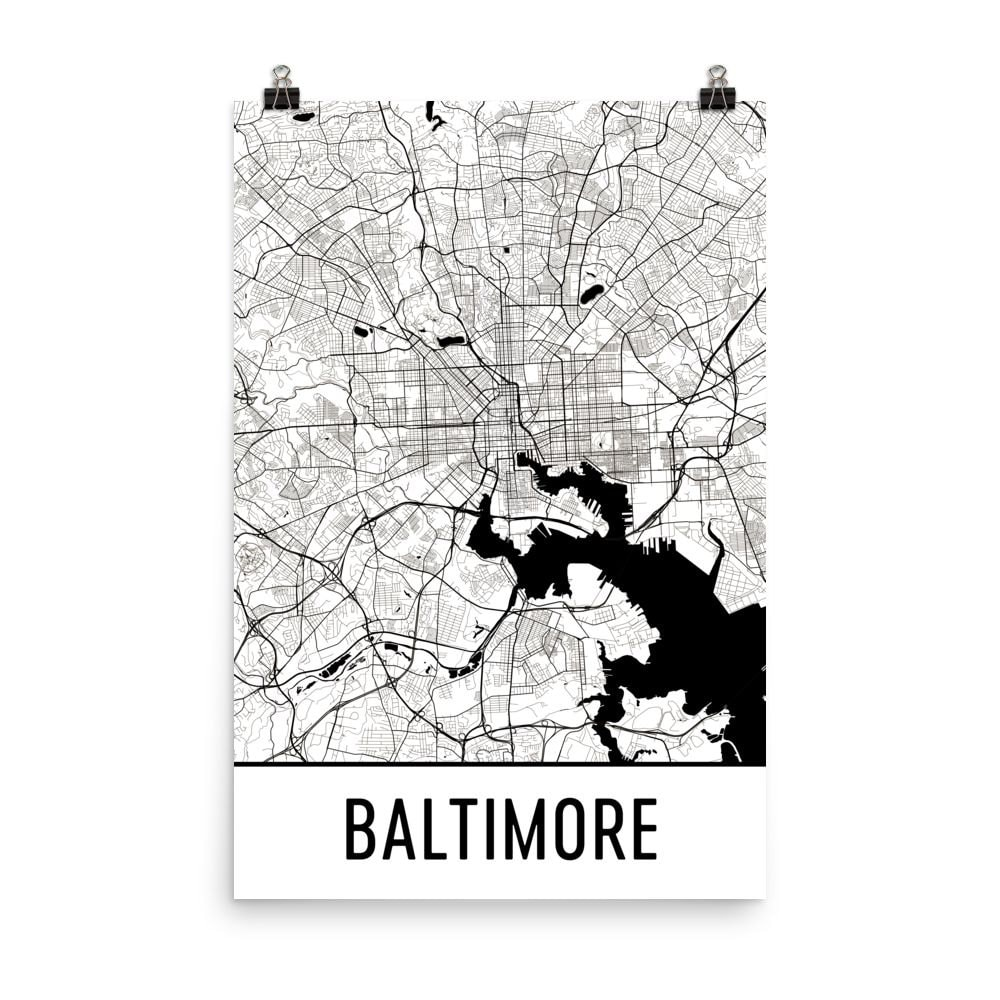 Karte von Baltimore Baltimore Baltimore MD Kunst Poster