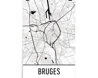 Bruges Map, Bruges Art, Bruges Print, Bruges Belgium Poster, Bruges Wall Art, Map of Bruges, Bruges Gift, Bruges Decor, Bruges Map Art Print