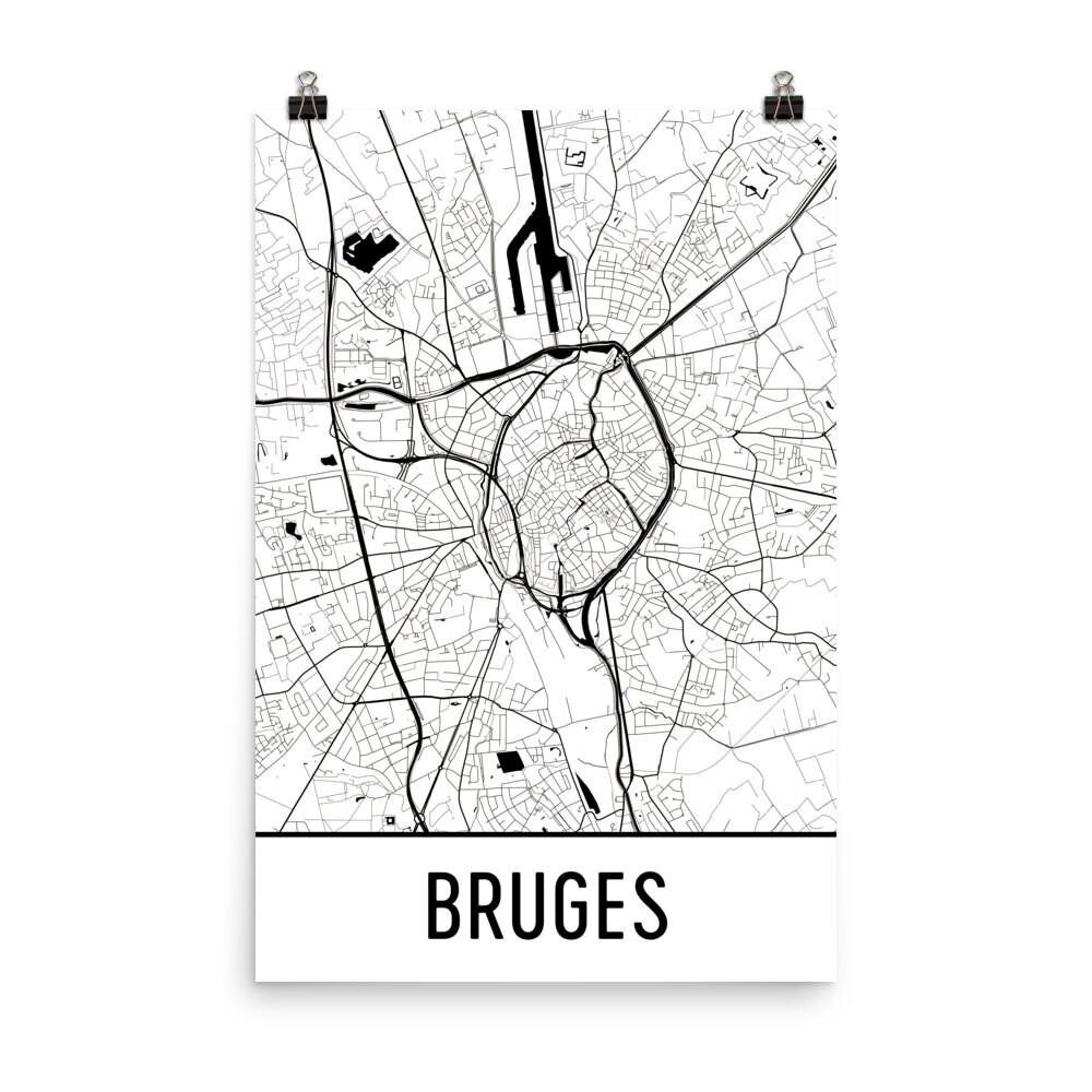 Brügge-Karte Brügge Kunst Brügge Druck Brügge Belgien | Etsy