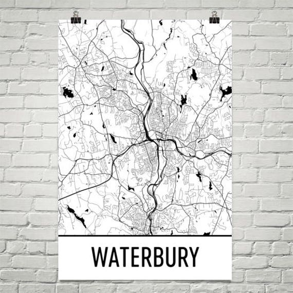 Waterbury Map, Waterbury Art, Waterbury Print, Waterbury CT Poster,  Waterbury Wall Art, Waterbury Gift, Map of Connecticut, Poster, CT Print