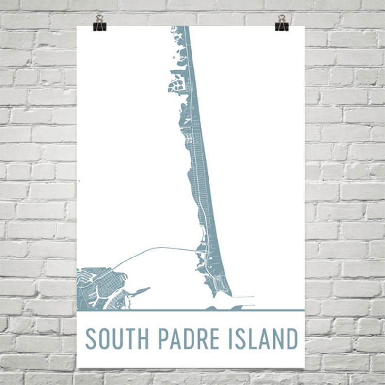 South Padre Island Map South Padr Art South Padr Print | Etsy on