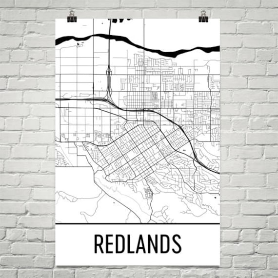 Redlands Ca Map Redlands Art Redlands Print Redlands Etsy