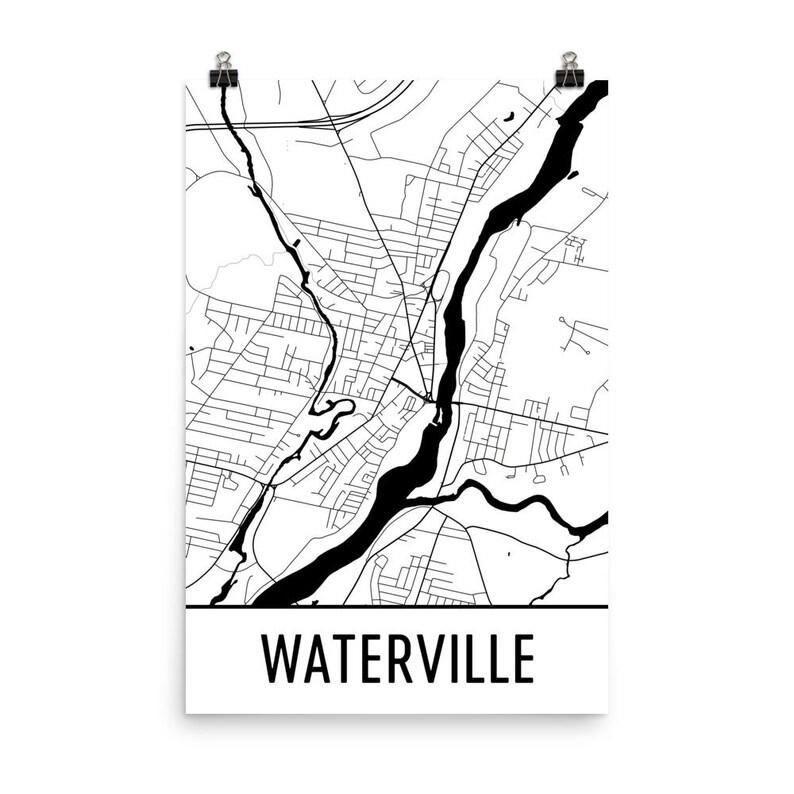 Waterville Map Waterville Me Art Waterville Print Etsy