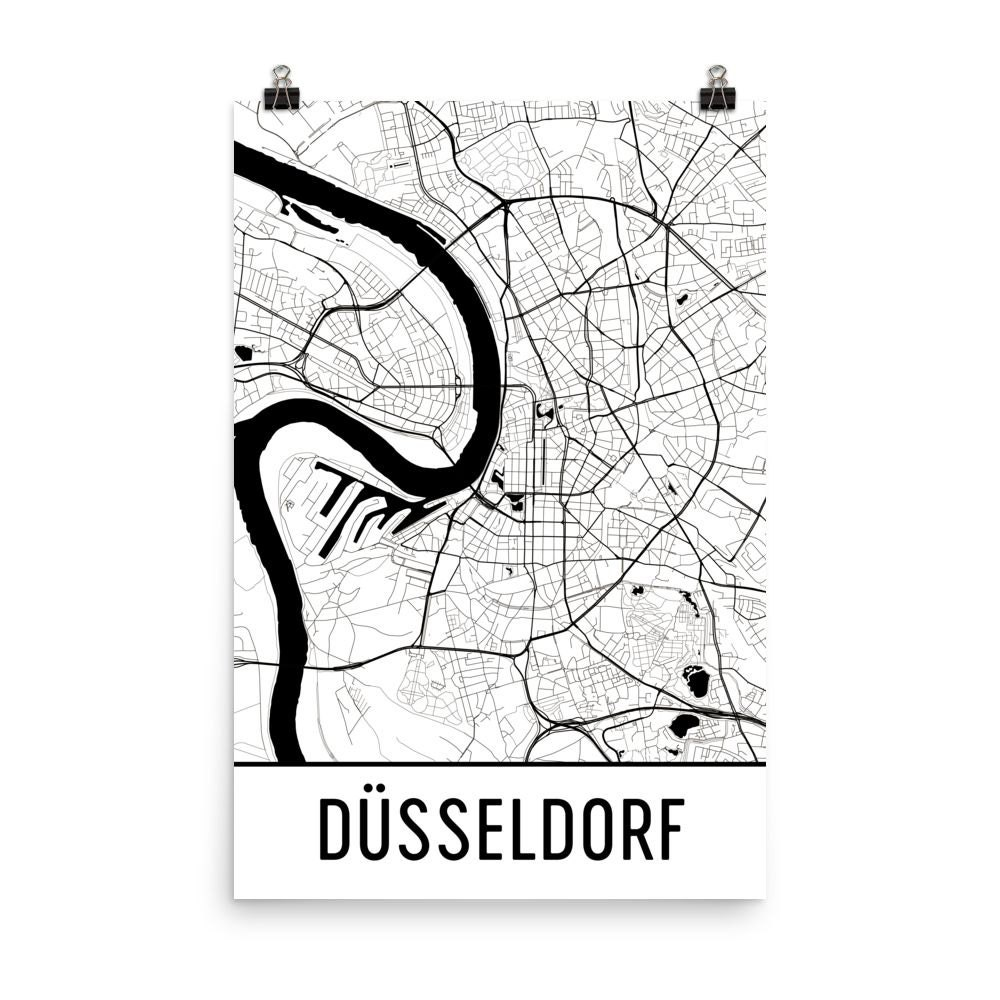 Düsseldorf Karte Kunstdruck Düsseldorf Deutschland Kunst | Etsy