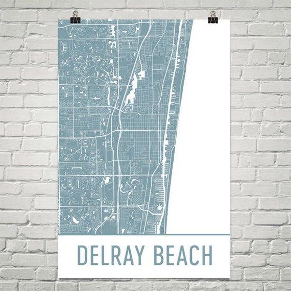 Map Of Delray Beach Florida.Delray Beach Map Delray Beach Art Delray Beach Print Delray Etsy