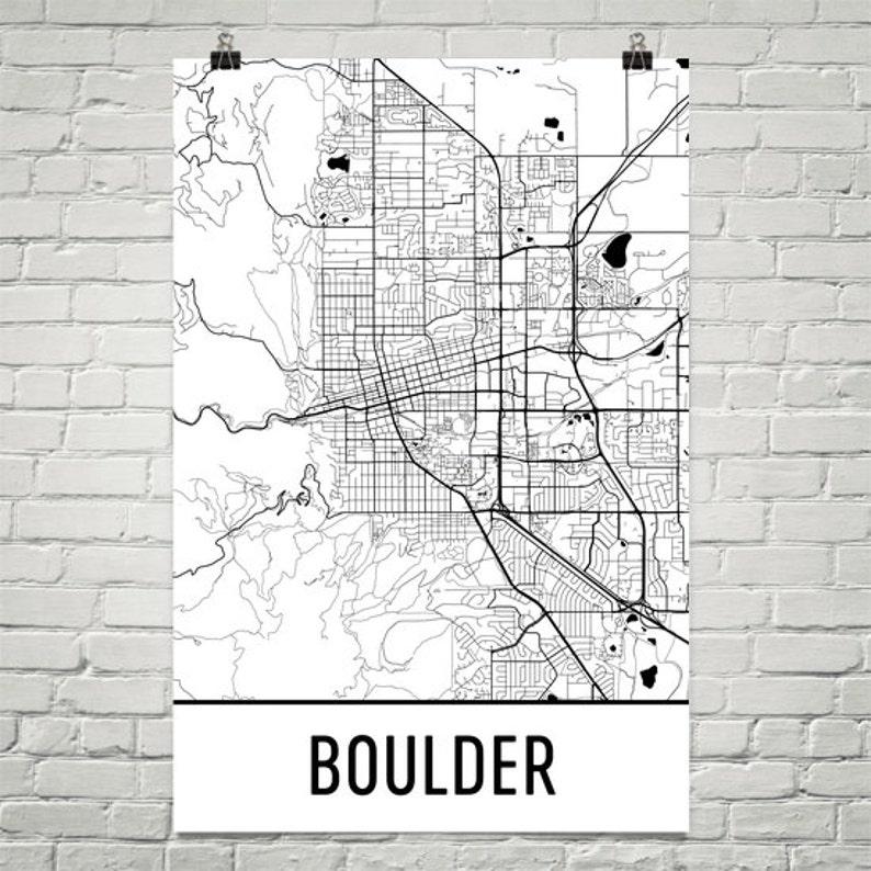 Boulder Co Map Boulder Art Boulder Print Boulder Colorado Etsy