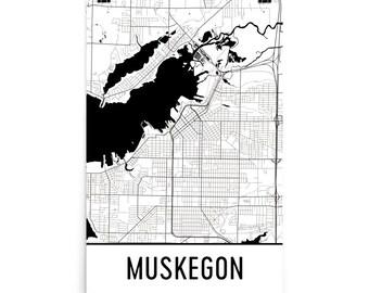 Muskegon Map, Muskegon MI Art, Muskegon Print, Muskegon Michigan Poster, Muskegon Wall Art, Map of Muskegon, Muskegon Print, Muskegon Gift