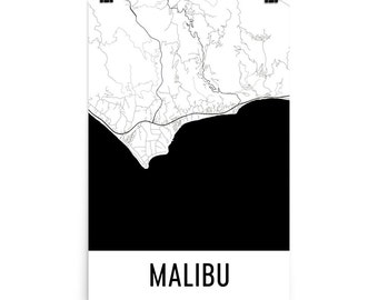 Malibu Map, Malibu Art, Malibu Print, Malibu CA Poster, Malibu Wall Art, Map of Malibu, Malibu Gift, Malibu Decor, Malibu Map Art Print