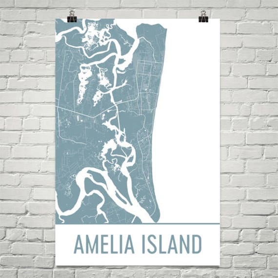 Where Is Amelia Island Florida On The Map.Amelia Island Map Amelia Island Art Jacksonville Print Etsy