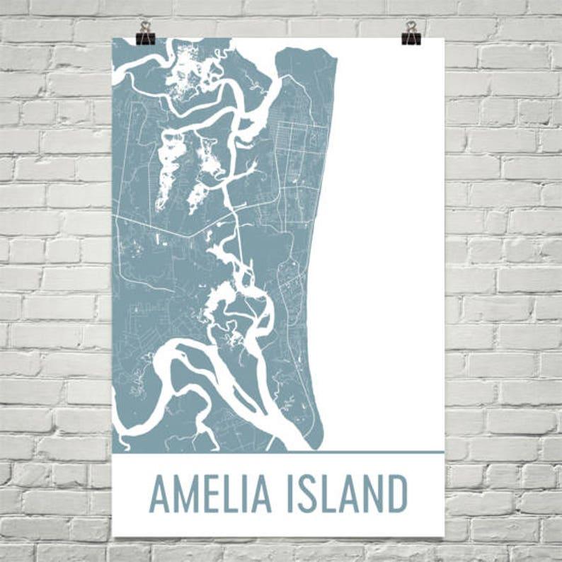 Amelia Island Map, Amelia Island Art, Jacksonville Print, Amelia Island FL  Poster, Amelia Island Wall Art, Florida Gifts, Map of Florida