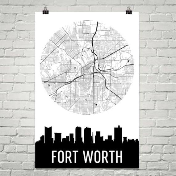 Fort Worth Skyline Fort Worth Map Fort Worth Skyline Art   Etsy