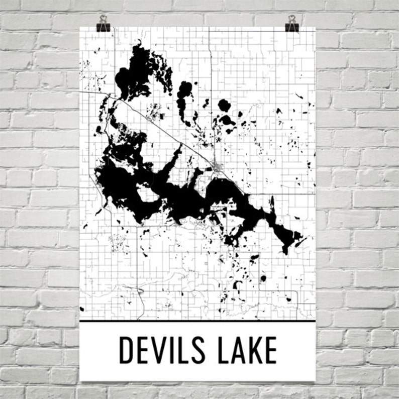 Devils Lake North Dakota Devils Lake ND Devils Lake Map | Etsy on