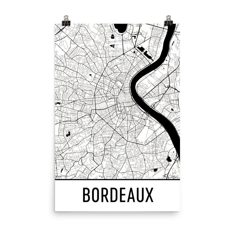 Bordeaux Karte Bordeaux-Kunst Bordeaux-Druck Bordeaux | Etsy