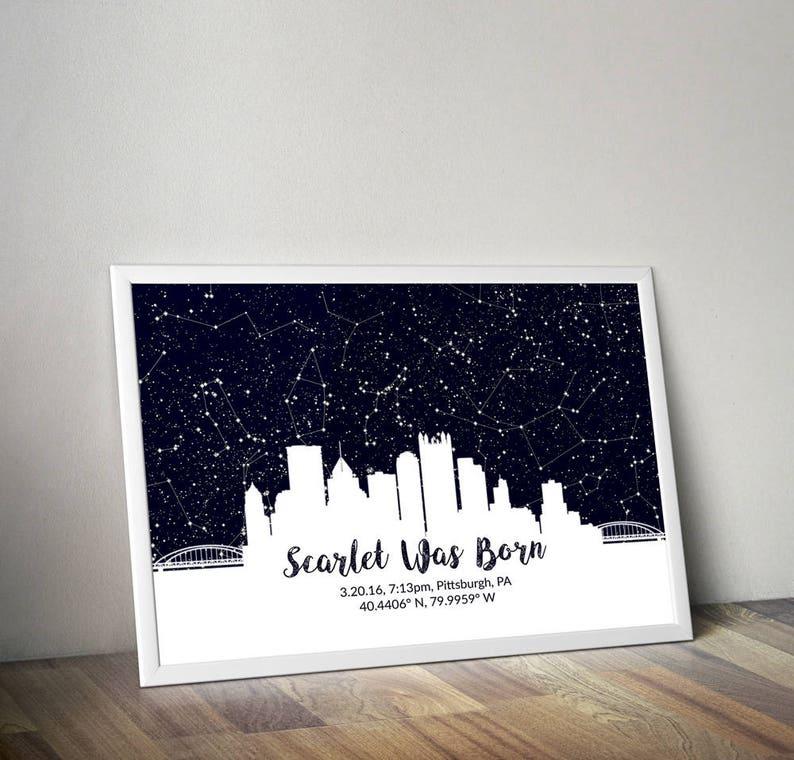 Custom City Skyline Poster, Skyline Wall Art, Personalized City Skyline  Art, City Night Sky, Skyline Star Map, Sky Line Print, Gift