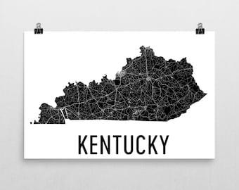 Kentucky Map, Kentucky Art, Kentucky Wall Art, Kentucky Print, Sign, Kentucky Gifts, Kentucky Decor, Kentucky Poster, Map of Kentucky