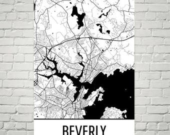 Beverly MA Map, Beverly Massachusetts Art, Beverly Print, Beverly Poster, Beverly Wall Art, Beverly Gifts, Map of Massachusetts, Decor