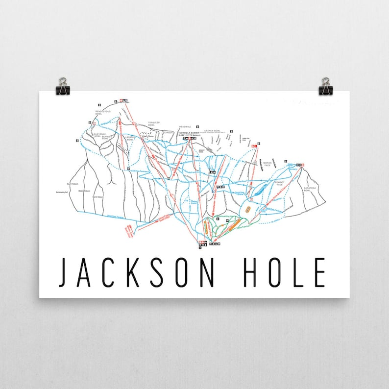Jackson Hole Map Jackson Hole Wyoming Jackson Hole Poster Etsy