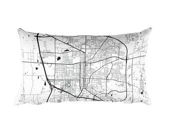 Denton Pillow, Denton Decor, Denton Throw Pillow, Denton Map, Denton Art, Denton Texas, Denton TX, Map of Denton, Denton Map Art, Cushion