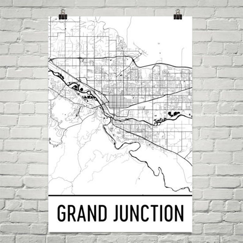 Grand Junction CO Map, Grand Junction Art, Grand Junction Print, Grand  Junction Poster, Wall Art, Colorado Gifts, Map of Colorado, Decor