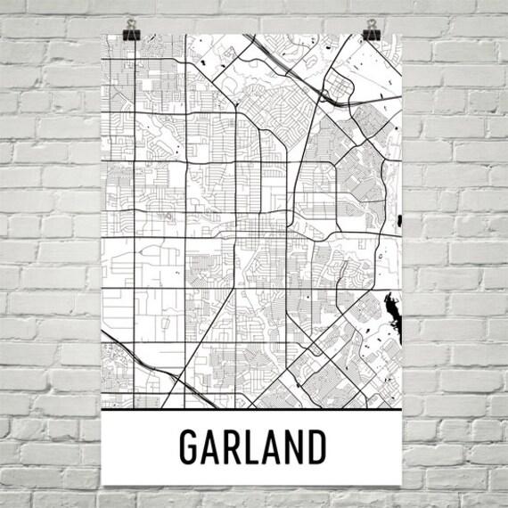 Garland Texas Map >> Garland Tx Map Garland Art Garland Print Garland Texas Art Poster Garland Wall Art Garland Gift Garland Decor Garland Map Art Modern