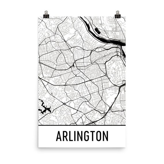 Arlington Map Arlington Va Art Arlington Print Arlington Va Etsy
