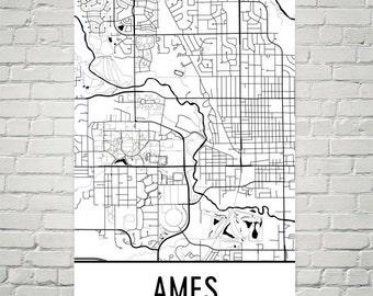 Ames IA Map, Ames Art, Ames Print, Ames Iowa Art Poster, Ames Wall Art, Ames Gift, Ames Poster, Birthday, Ames Decor, Ames Map Art, Modern