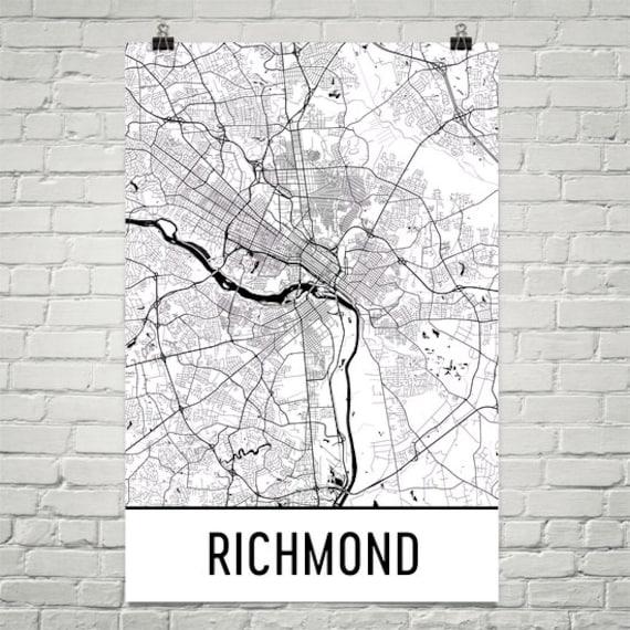 Richmond VA Map Richmond Art Richmond Virginia Print | Etsy