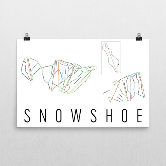 Ski Virginia Map.Snowshoe Mountain Ski Map Art Snowshoe West Virginia Etsy