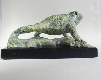 Frog Sculpture Stone Serpentine Gemstone Large Carving Amphibian Toad