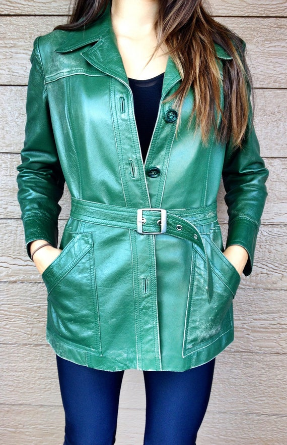 Vintage Green Leather Jacket. Waist Belt