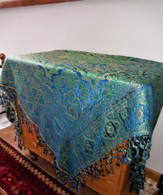 Antique French Shawl, Silk Cotton Cloth, Vintage T
