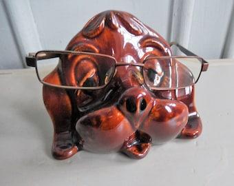 1970s Spectacle Eyeglasses Case, Ceramic Dog, Glass Holder, Kitsch Dog, Eyewear, Brown Dog Ceramic Spectacle Holder