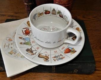 Vintage Advertising, Tea Leaf Reading Cup Saucer, Rare Talton Cup Saucer, Astrological Signs Symbols, Taltos Davenport Jon Anton, Divination
