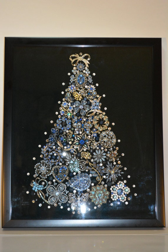 Framed vintage jewelry Christmas tree | Etsy