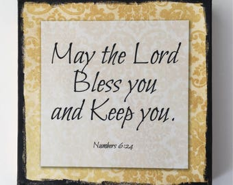 """Bless you and Keep you. 6""""x6"""" inspirational blessing on canvas"""