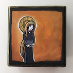 "Mary with child Block Art, (Actual size: 2.5"" x 2.5"" x 1.25"")"