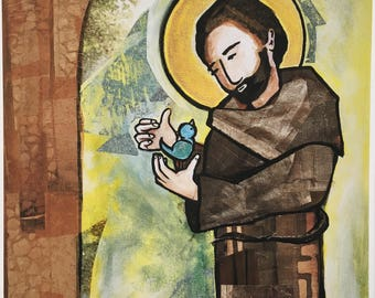 St Francis Painting Etsy