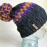 Slouchy Chunky Knit Winter Beanie - Charcoal, Purple & Gold with Pom - Handmade Women's Hat - MN Vikings Football - Custom Team Colors Hat