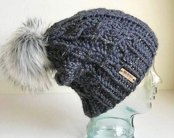 Slouchy Cable Knit Winter Beanie - Gray with Jumbo Faux Fur PomPom - Handmade in MN - Women's Warm Hat - Neutral Accessory