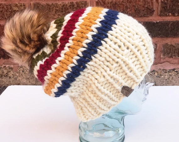 Hudson Bay Beanie - Striped Slouchy Knit Hat with Jumbo Faux Fur PomPom - Women's Warm Winter Hat - Red, Green, Yellow, Blue- Glacier Park