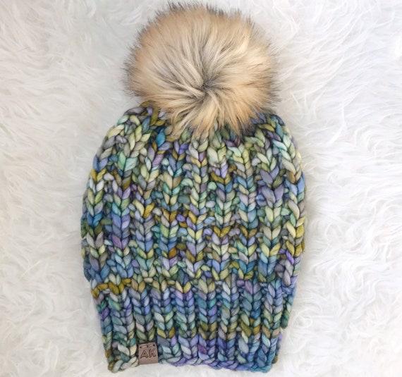 Premium Wool 100% Merino Hand Dyed Wool Winter Hat - Blue Green Multi Color - Slouchy Knit Women's Beanie with Jumbo Faux Fur Pom - Luxury