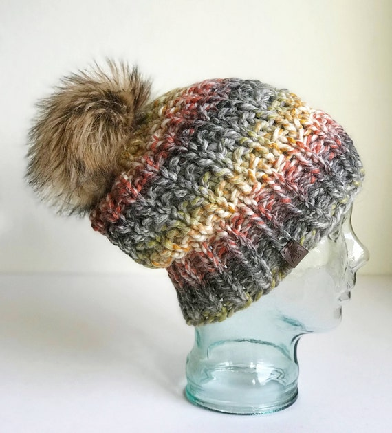 Slouchy Chunky Knit Winter Beanie - Neutral Multicolor with Jumbo Faux Fur PomPom - Handmade in MN - Women's Warm Hat