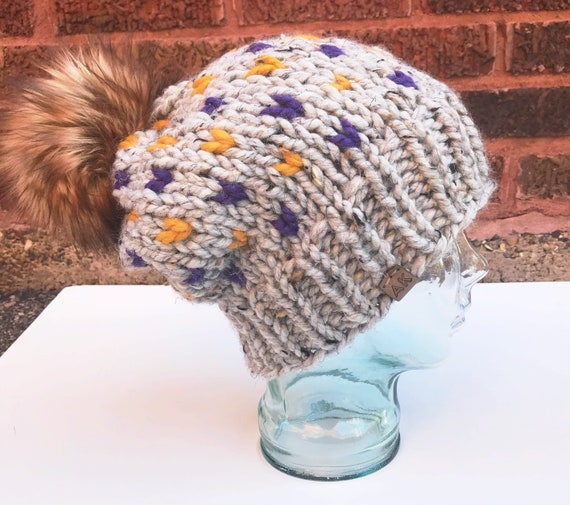 Purple and Gold Minnesota Football Fan - MN Vikings Football - Slouchy Chunky Knit Winter Beanie - Purple & Gold Hearts with Faux Fur Pom