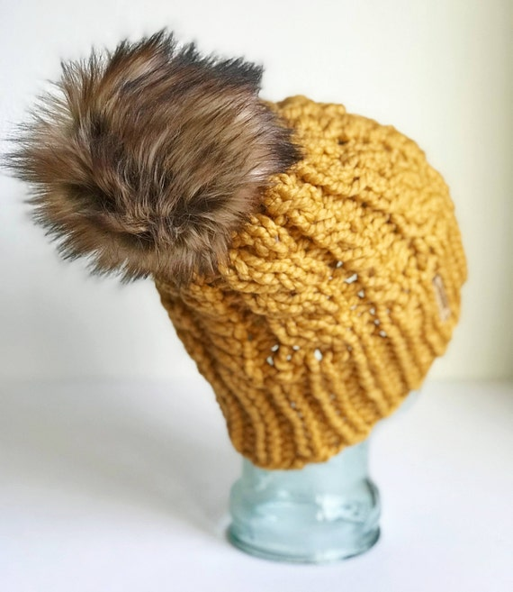 Slouchy Cable Knit Winter Beanie - Mustard w/ Jumbo Faux Fur PomPom - Handmade in MN - Women's Warm Hat - Neutral Accessory