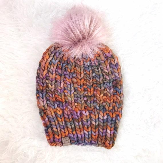 Premium Wool 100% Merino Hand Dyed Wool Winter Hat - Millennial Pink Multi Color - Slouchy Knit Women's Beanie Jumbo Faux Fur Pom - Luxury