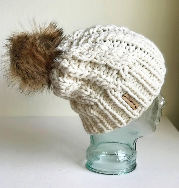 Slouchy Cable Knit Winter Beanie - Cream with Jumbo Faux Fur PomPom - Handmade in MN - Women's Warm Hat - Neutral Accessory